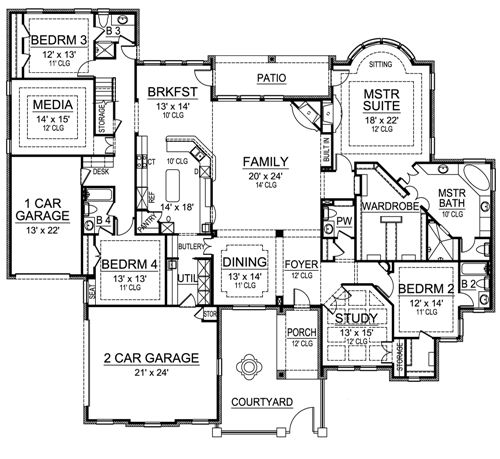 Luxury House Plan With Five Bedrooms