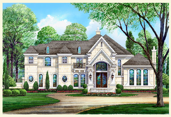 River oaks 9061 5 bedrooms and 4 baths the house designers for French chateau style home plans