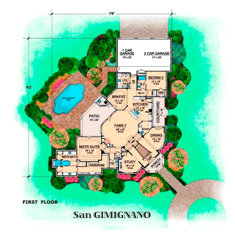 Building Front Elevation Staircase : San gimignano bedrooms and baths the house