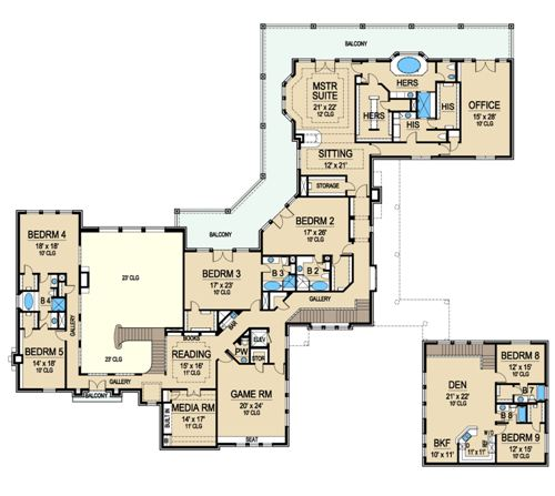 Sardegna 5163 9 bedrooms and 8 5 baths the house designers for 2 story villa floor plans
