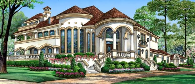 Mediterranean Mansion House Plan With Balconies