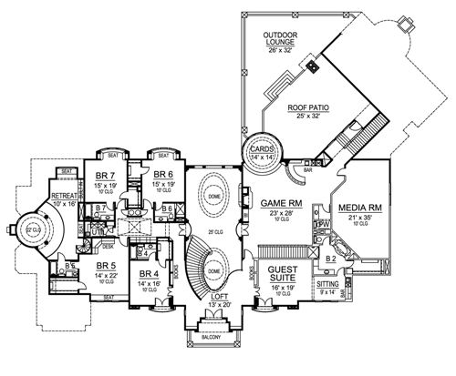 European luxury house plan for Versailles house floor plan