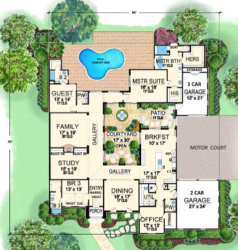 Tuscan house plan with lavish master suite for Plan de villa style americain
