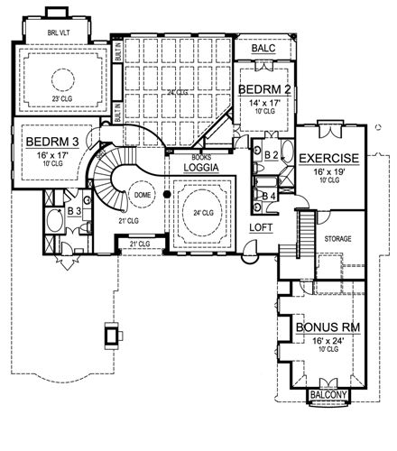 VILLA ROYALE 4483  3 Bedrooms and 5 Baths The House Designers - Blueprints For Houses