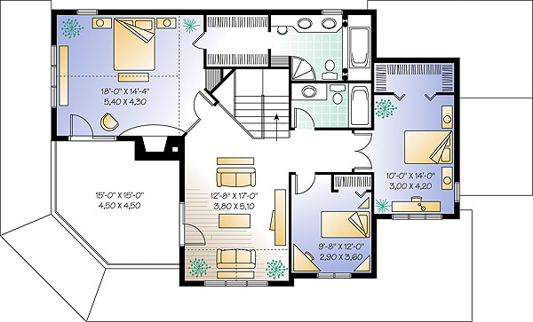 Three bedroom house plan with balcony for 2 bedroom lake house plans