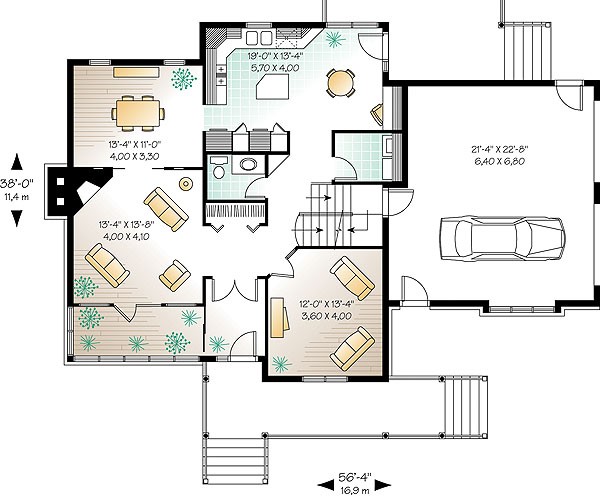 The ridgewood 1 1148 3 bedrooms and 2 baths the house for Typical house layout