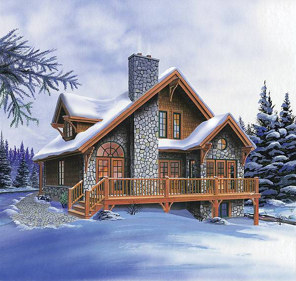 Home Design Ideas Elevation: Country Rustic Cottage With 3 Bedrooms