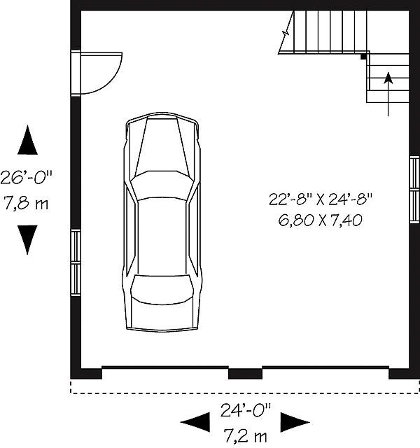 Traditional two car garage with bonus room for Dimensions for a double garage