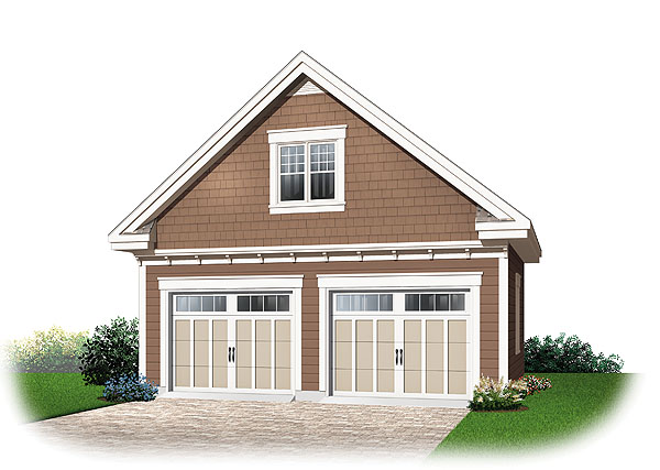 Traditional two car garage with bonus room for Two car garage plans with bonus room