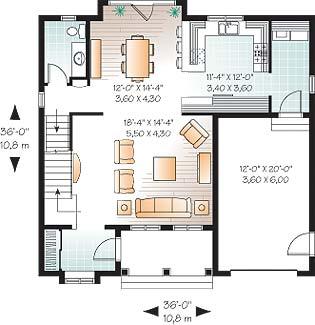 Whitman 3685 2 bedrooms and 2 baths the house designers for Dessin salle de bain 3d gratuit