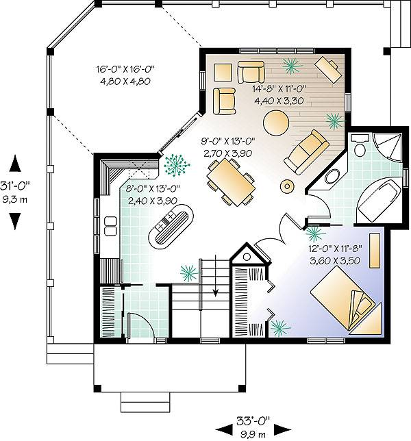 Country one story house plan with open concept and for Small retirement house plans
