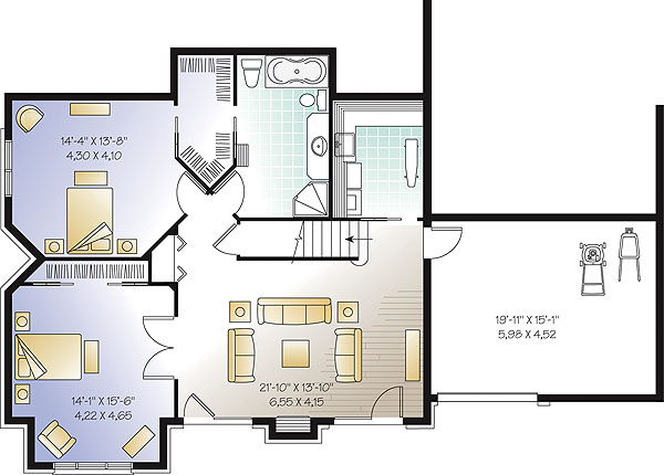 The lodge 1147 5 bedrooms and 3 baths the house designers House plans with 2 bedrooms in basement