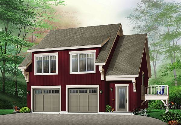 Two car garage with guest suite above for Garage with suite above plans
