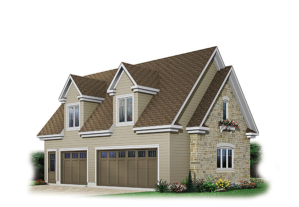Glide away 1213 the house designers Triple car garage house plans