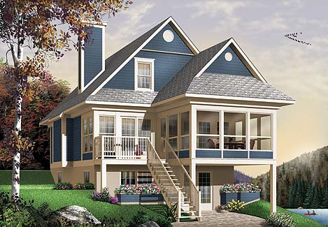 Two story cottage house plan for 2 story lake house