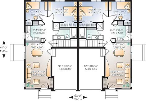 Belleview 3268 2 bedrooms and 1 5 baths the house Duplex floor plans with double garage