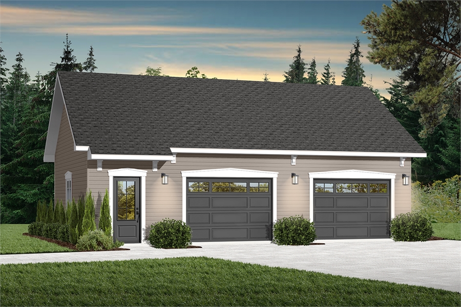 Simple two car garage with storage space 4784 Larson 2