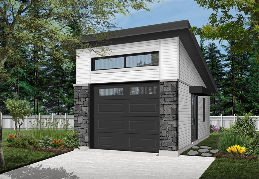 Contemporary Style One Car Garage Plan 4929 Urban Nature