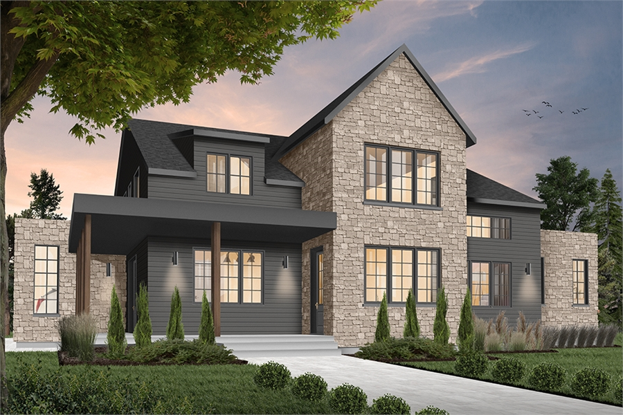 Tiny Home Designs: Elegant Modern Farmhouse Home Plan With 4 Beds And 3.5 Baths
