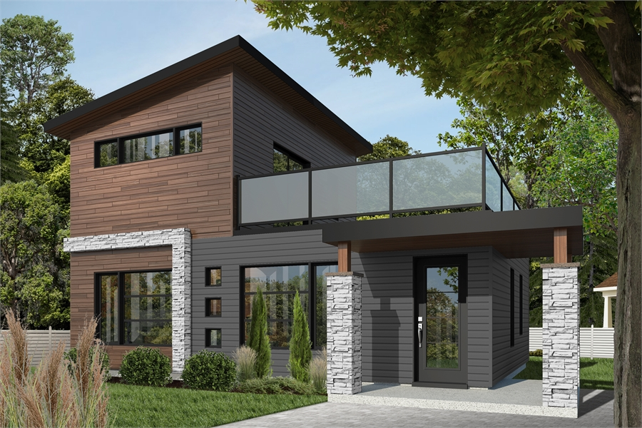 Affordable Modern Two Story House Plan With Large Deck On Second Floor