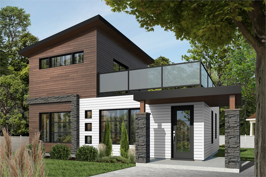 Affordable modern two-story house plan with large deck on ...