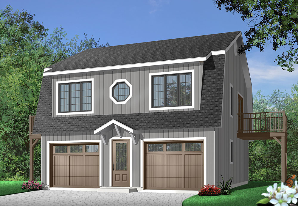 garage plan with twobedroom apartment