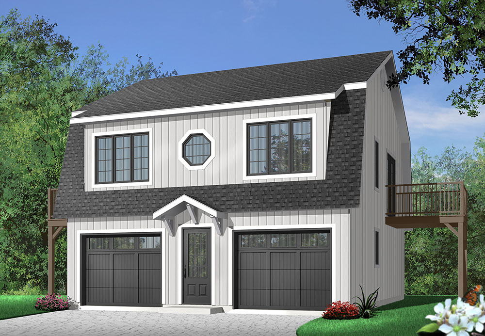 Garage plan with two-bedroom apartment
