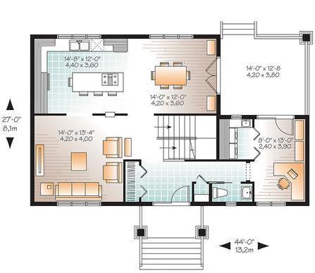 Marlowe 4 9564 3 bedrooms and 1 bath the house designers - Plan de travail pour bureau ...