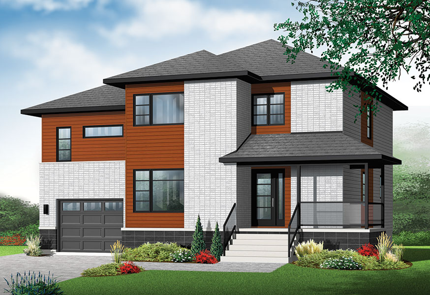 Front two story contemporary house plan