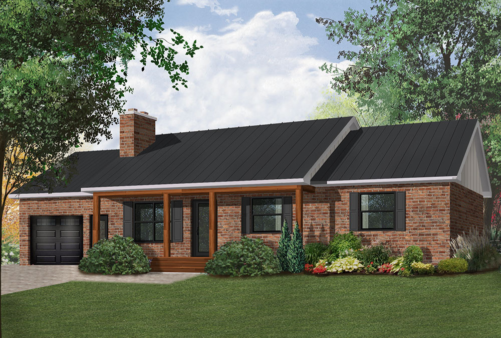 Classic ranch home design with island kitchen for Classic ranch homes