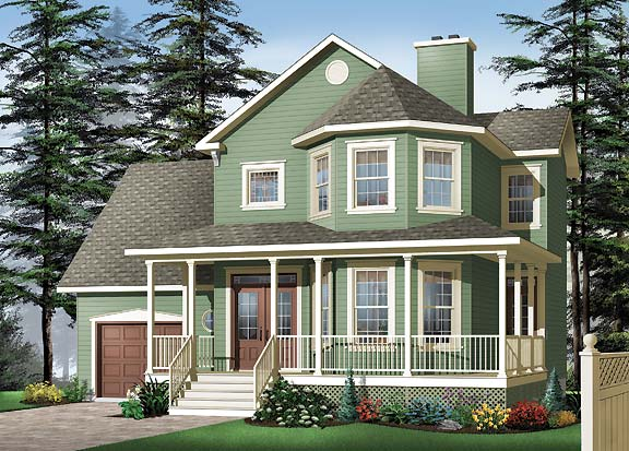 Two story house plan with three bedrooms for Bay house plans