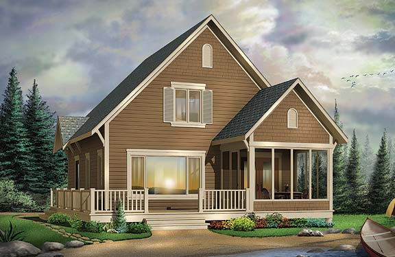 Three bedroom cottage with screened porch for Cottage house plans with screened porch