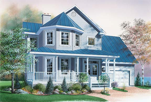 Victorian Style Home Plan With Bay Windows
