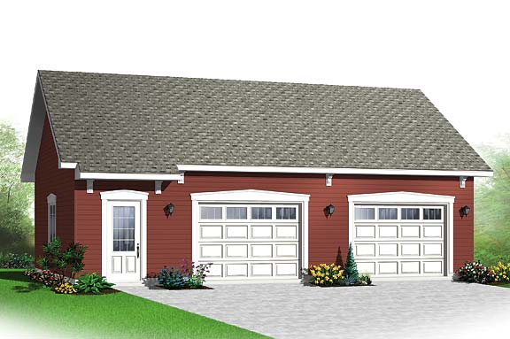 Simple two car garage with storage space for Simple 2 car garage plans