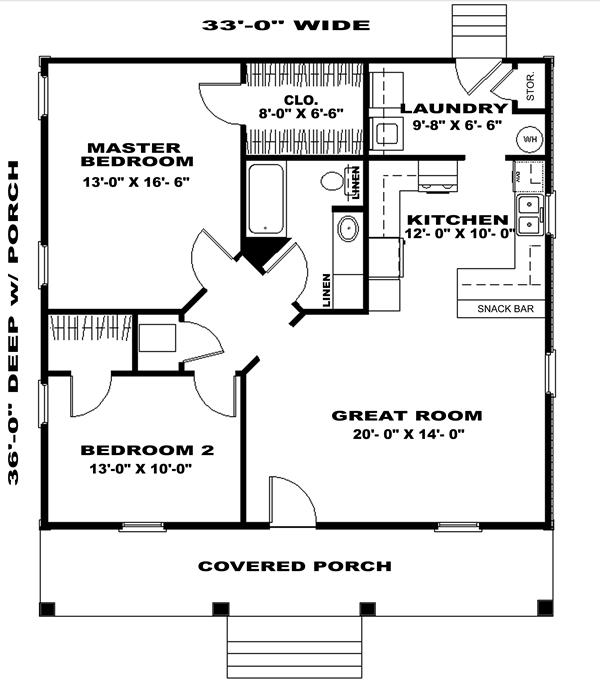 Retreat ii 6516 2 bedrooms and 1 5 baths the house for 24x30 house plans
