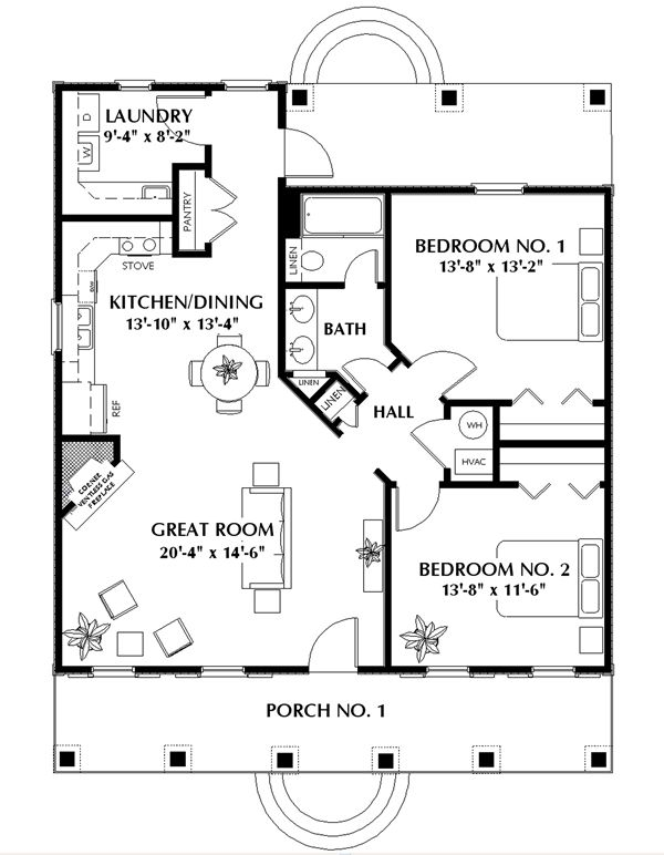 The Meadowview 5650 - 2 Bedrooms and 1.5 Baths | The House Designers