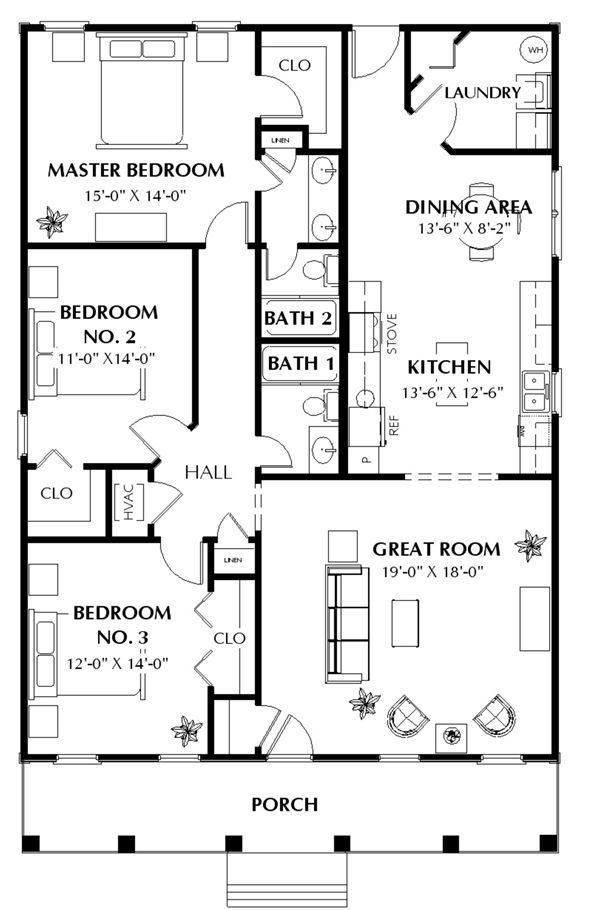 1500 sq ft house plans simple house plans with great room ranch style house plan 3 beds 2 00 baths 1500 sq ft plan
