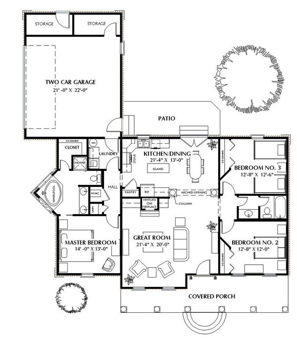Texas House Plans Over 700: The Oakridge 5663 - 3 Bedrooms And 2.5 Baths