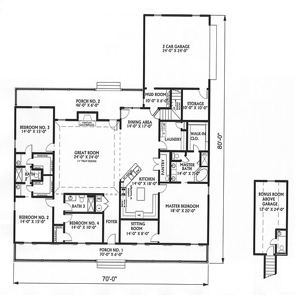 Big country 5746 4 bedrooms and 3 5 baths the house for One level house plans with bonus room