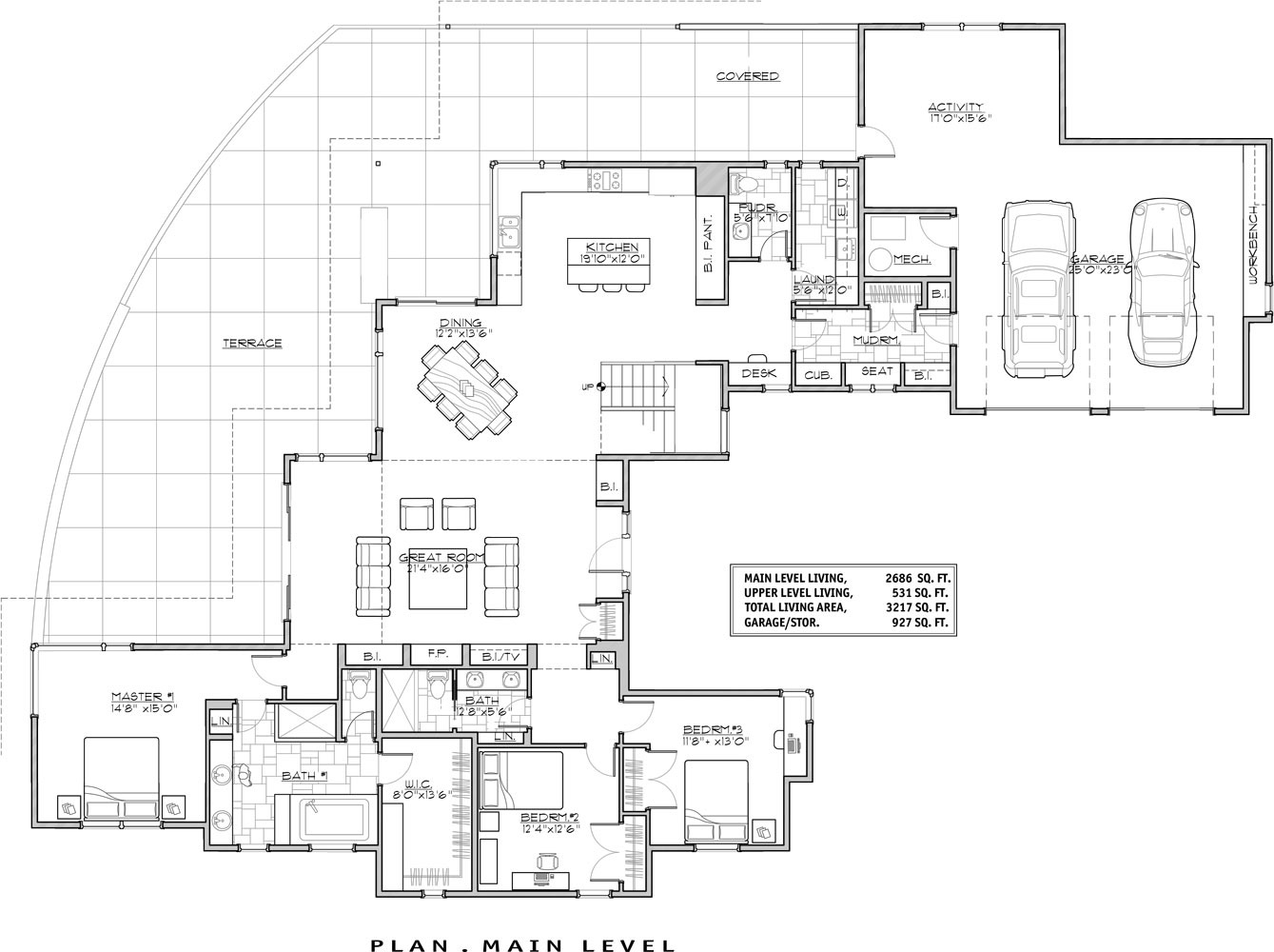 Luxury contemporary 9044 3 bedrooms and 3 baths the for Modern home floor plans