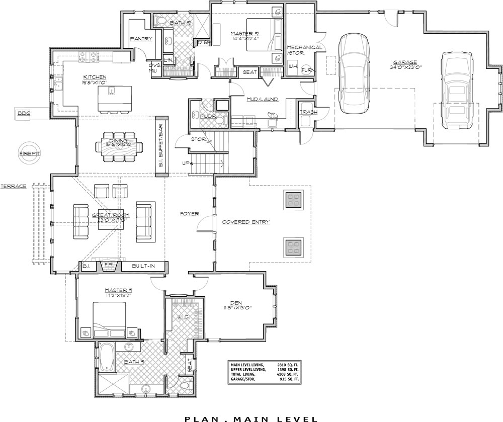 Four bedroom craftsman house plan for Mountain view floor plans