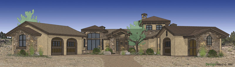 Spanish one story house plan for Thehousedesigners com home plans