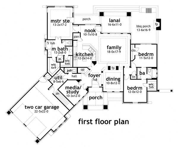 First Floor Plan image of Montagna di Grazioso House Plan