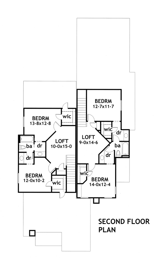 Second Floor Plan image of Due Volte Casa House Plan