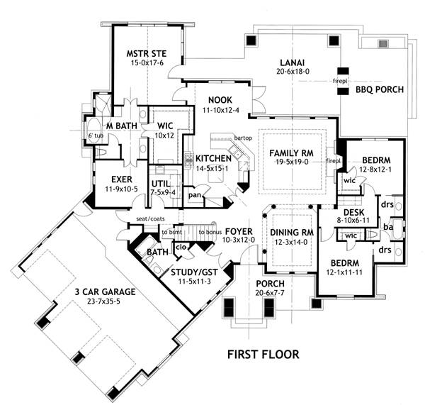 Craftsman house plan with basement option for Craftsman house plans first floor master