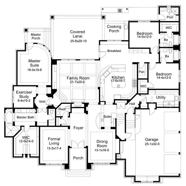 The mason 6556 5 bedrooms and 6 baths the house designers - Mediterranean house floor plan and design ...