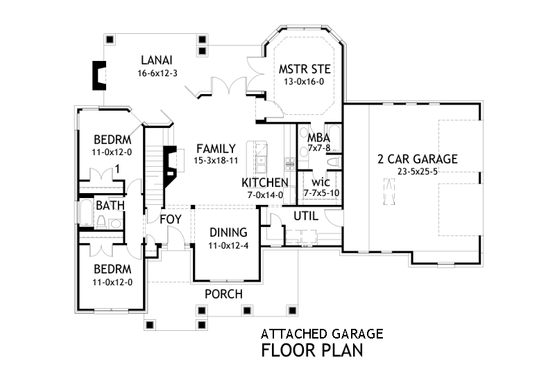 attached garage plan - Attached House Plans