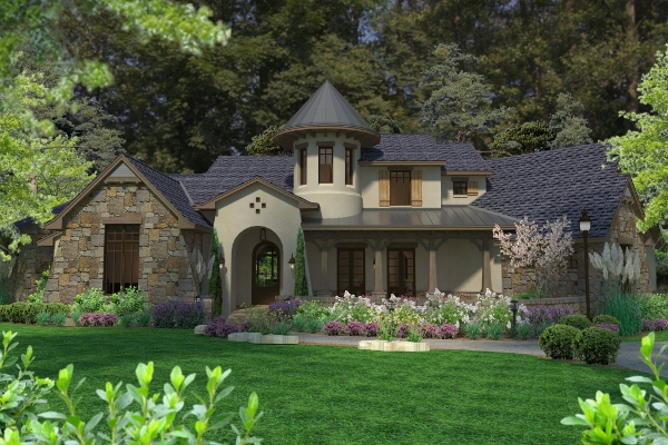 Eclectic european for Forest house plans