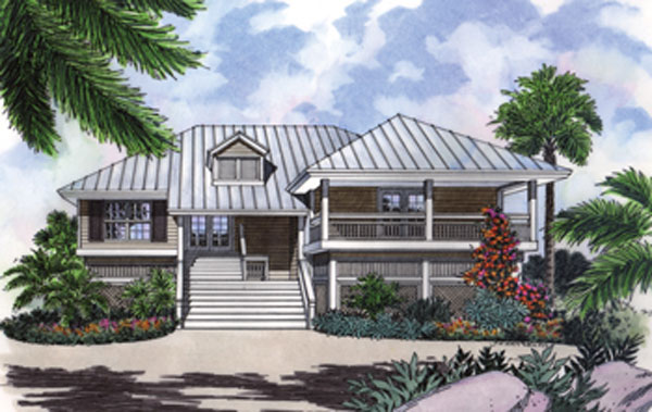 Stilt house plan with decks and charm Beach cottage design plans