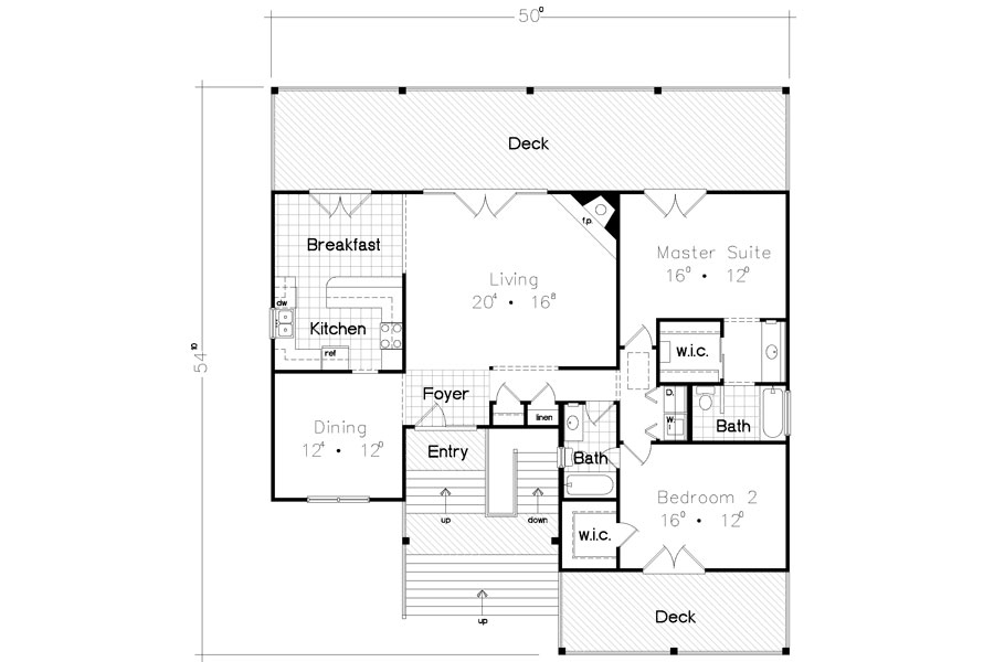 Beach bungalow 3928 2 bedrooms and 2 5 baths the house for Beach house floor plans